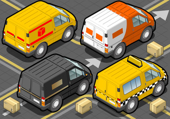 Isometric Delivery Truck and Taxi in Rear View