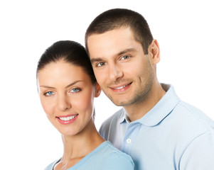 Portrait of smiling couple, on white