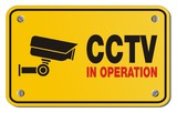 CCTV in operation yellow sign - rectangle sign