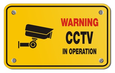 warning cctv in operation yellow sign  - rectangle sign