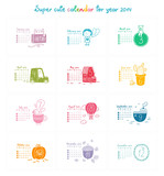 Cute doodle calendar for 2014. Week starts from Sunday