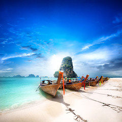 Tropical island travel landscape. Thailand beach and boats © Banana Republic