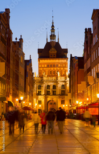 golden gate at night, Gdansk, Poland