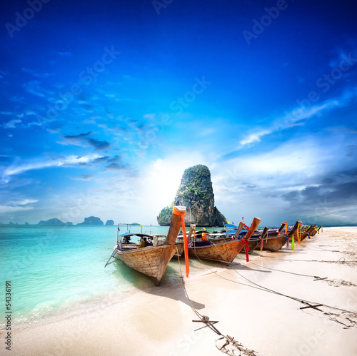 Tropical island travel landscape. Thailand beach and boats - 54336191