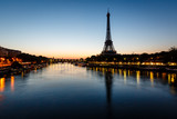 Fototapety Eiffel Tower and d'Iena Bridge at Dawn, Paris, France