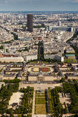 Aerial View on Champ de Mars from the Eiffel Tower, Paris, Franc