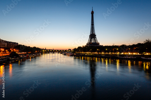 Eiffel Tower and d'Iena Bridge at Dawn, Paris, France - 54336350