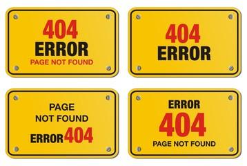error 404 yellow sign - rectangle sign