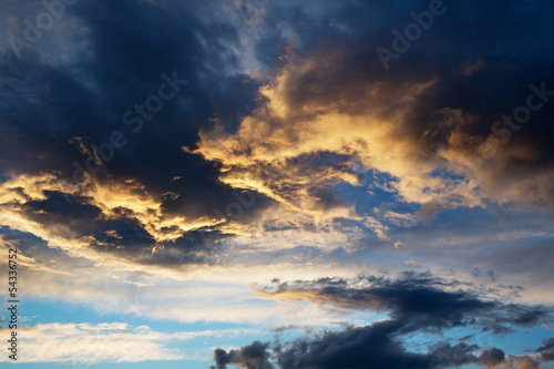 thunderstorm cloud at sunset