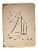 hand drawn background with sailboat. Vector eps8