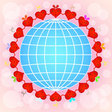 Cartoon red hearts circle around globe