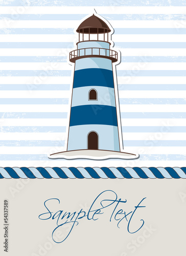 Nautical background with lighthouse, marine card