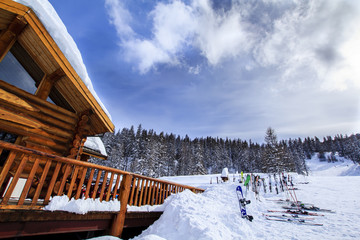 Mountain lodge in Alps