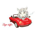 White wild smoking tiger retro red car driver - 54338331
