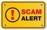 scam alert yellow sign - rectangle sign poster