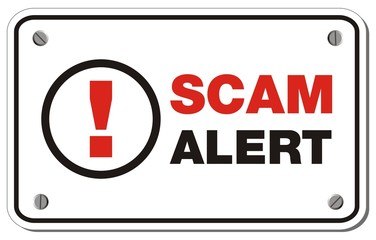 scam alert rectangle sign
