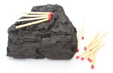 Coal lump with matches on white background