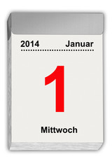 tear off calendar German January 1, 2014