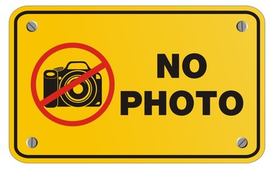no photo yellow sign - rectangle sign