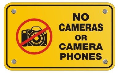 no cameras or camera phones yellow sign - rectangle sign