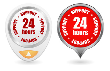 24 hours support vector web icon