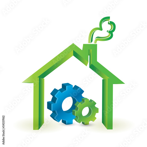 house and industrial gears. illustration design