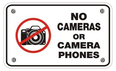 no cameras or camera phones rectangle sign