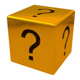 Gold cube with question marks, 3d