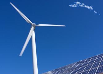 Wind turbine and solar panels