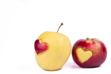 apple with different heart isolated on white