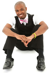 Happy Attractive Black Man in suit with Bow Tie. Clipping path.