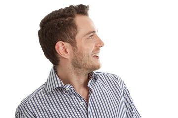 Europäer - Gesicht Mann isoliert und lachend mit Hemd