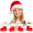 woman with christmas hat and boots