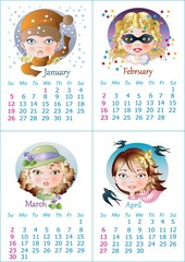 2014 calendar (January February March April)