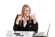 young woman in an office shows thumbs up