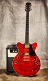 Semi-Hollow Guitar and Amplifier