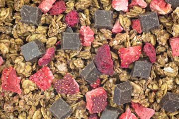Close view granola with chocolate