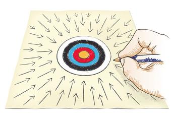 mano disegna un centro