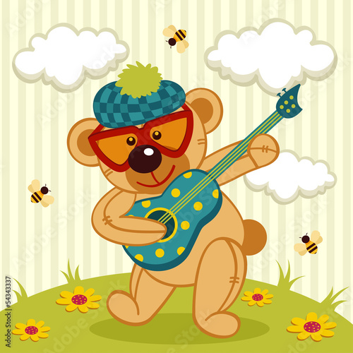 teddy bear play on a guitar - vector illustration