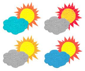 Sun Cloud Crumpled Paper