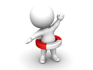 3D Man with Life Buoy and one raised arm Safety Concept