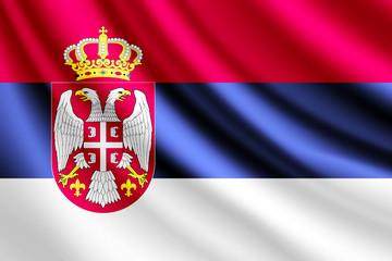 Waving flag of Serbia,vector
