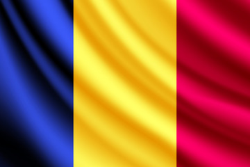 Waving flag of Romania,vector