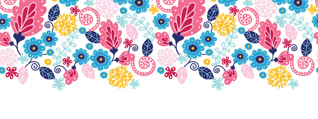 Vector fairytale flowers horizontal seamless pattern background