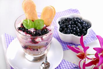 blueberry tiramisu dessert in glass