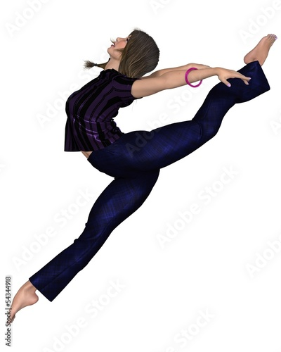 Woman in Purple Shirt - leaping