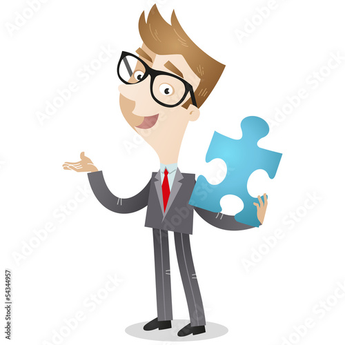 Businessman, jigsaw puzzle, explaining, solution, teamwork