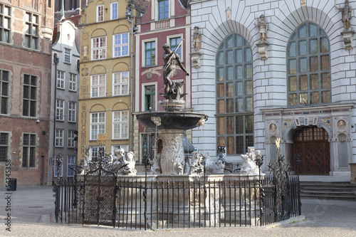 Neptune's Fountain in Gdansk, Poland