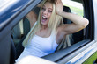 Blonde Woman Sitting In Car And Screaming