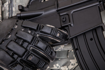 Closeup Of Solider Holding Rifle